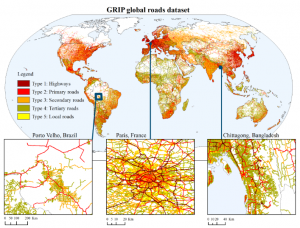 Map with global overview of the GRIP dataset