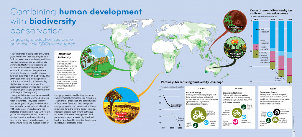 PBL infographic showing future pathways on combining human development with biodiversity conservation