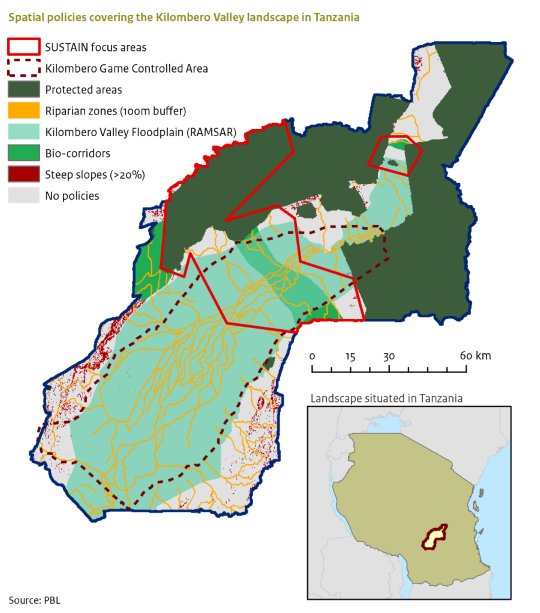 Map of the Kilombero landscape in Tanzania showing various spatial policies the landscape