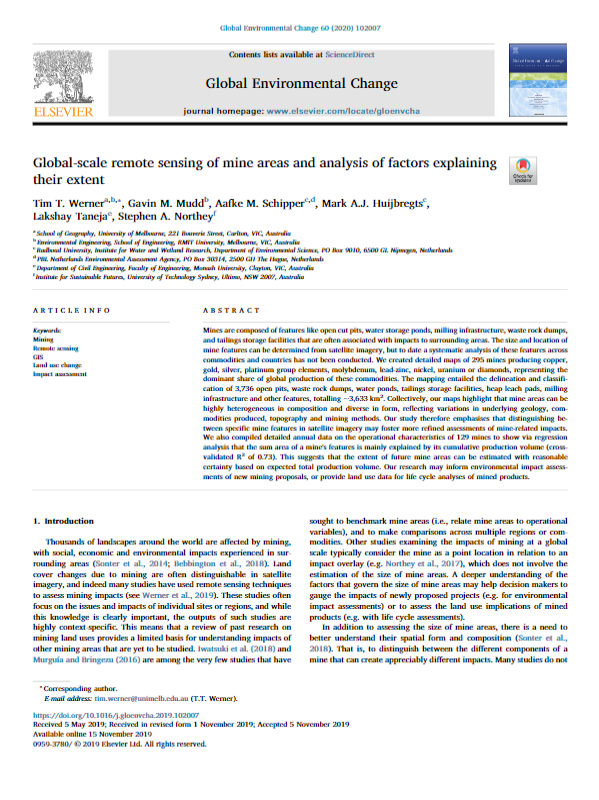 Global-scale remote sensing of mine areas and analysis of factors explaining their extent
