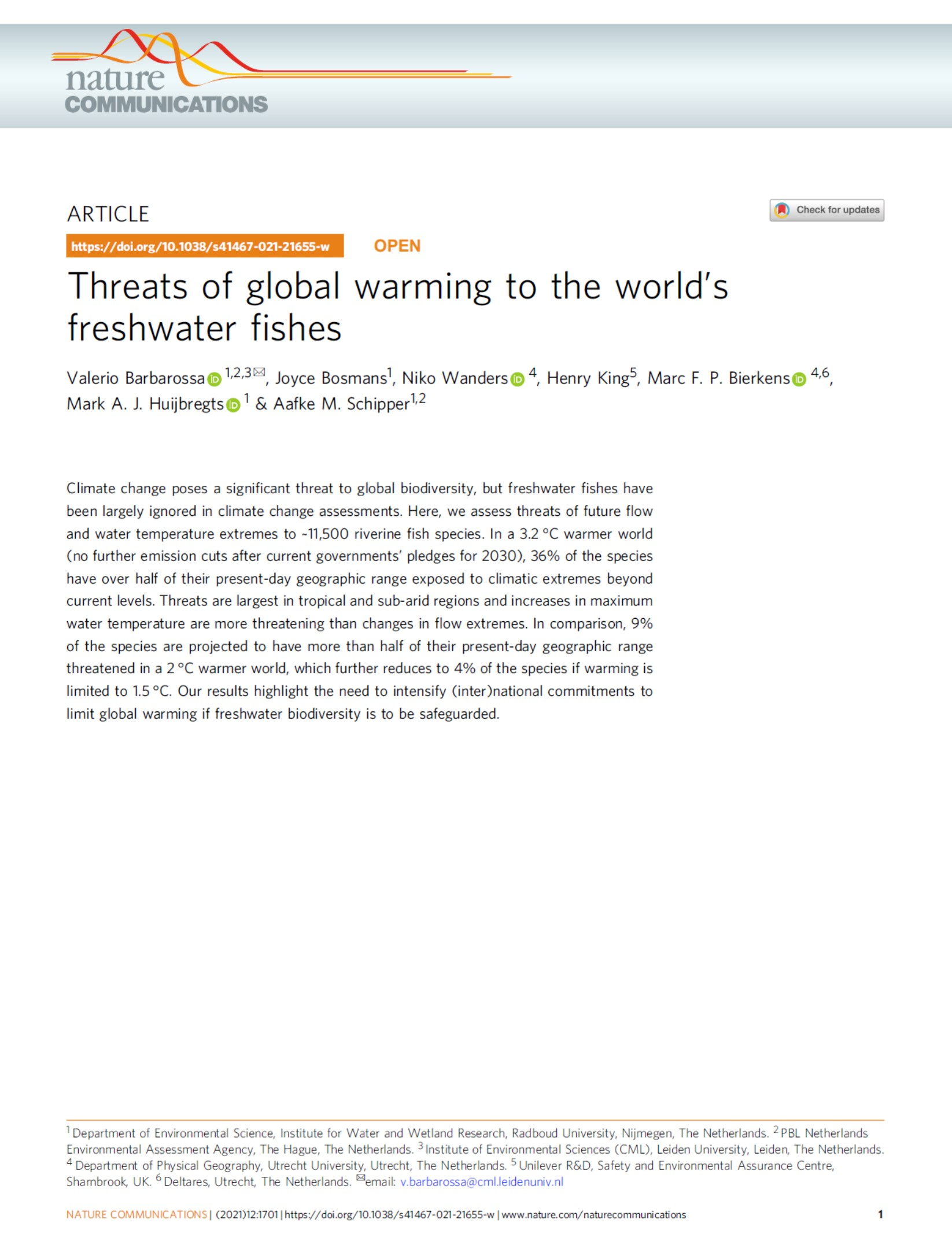 Threats of global warming to the world's freshwater fishes