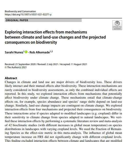 Exploring interaction effects from mechanisms between climate and land-use changes and the projected consequences on biodiversity