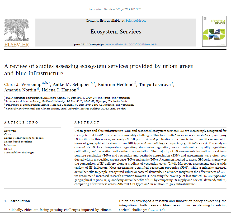 A review of studies assessing ecosystem services provided by urban green and blue infrastructure